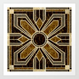 Art Deco Floral Tiles in Browns and Faux Gold Art Print
