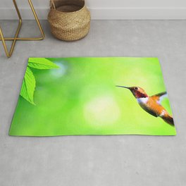 Amazing Majestic Little Cute Exotic Kolibri Humming Bird Hovering In Air Close Up Ultra HD Rug