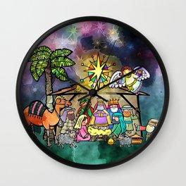 Christmas Nativity Watercolour Painting Wall Clock