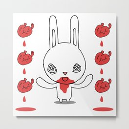 Heart Conjuring Bunny Rabbit - funny cartoon drawing with blood and magic! Metal Print