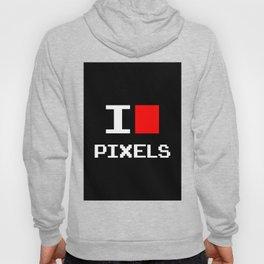I Love Pixels, nerd t shirt, black version Hoody
