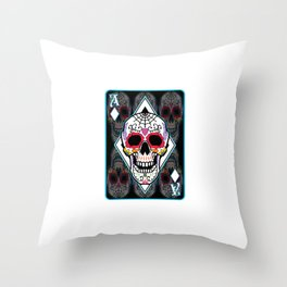 Sugar Skull Ace Card Day Of The Dead Playcard Dia De Los Muertos Festival Cool Design Throw Pillow