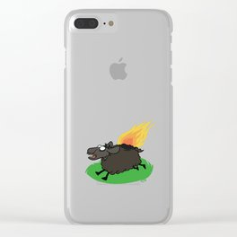 Flaming Sheep (Black) Clear iPhone Case