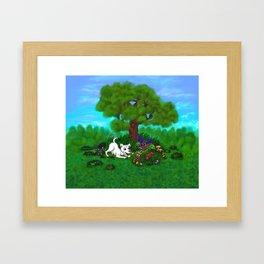 Easter - Spring-awakening - Puppy Capo and Butterfly Framed Art Print