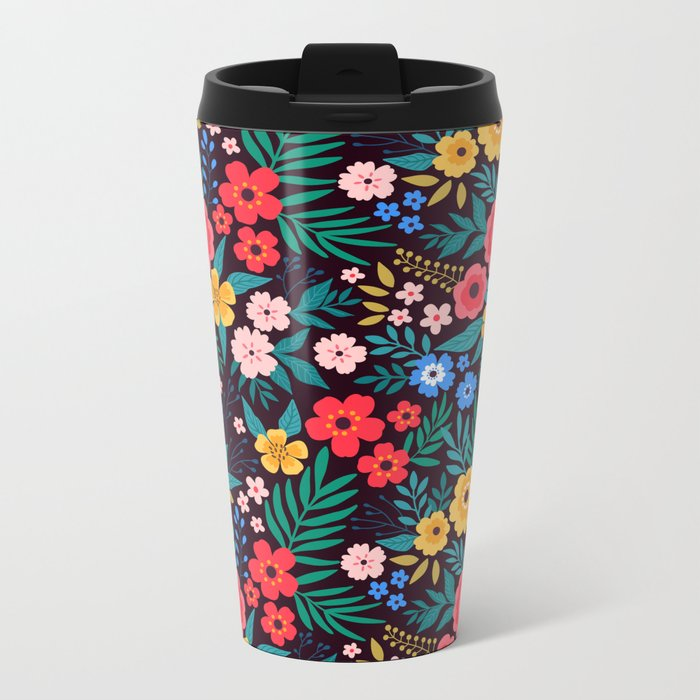 25 Amazing floral pattern with bright colorful flowers. Dark background. Travel Mug