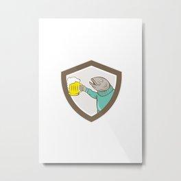 Trout Fish Holding Beer Mug Shield Cartoon Metal Print
