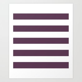 Dark byzantium - solid color - white stripes pattern Art Print