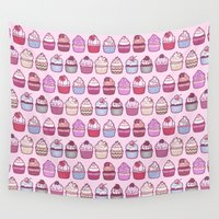 cupcakes Wall Tapestries featuring Cupcakes Galore by StudioMarimo