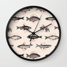 Fishes In Geometrics (Red) Wall Clock