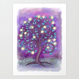 Violet Mystic Tree Art Print