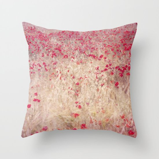 Fields of poppies Throw Pillow