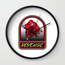 Bull Revenge Anger Anger Revenge Wild Attack Wall Clock