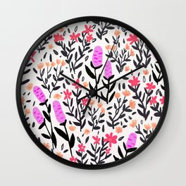 wild flowers hand draw floral pattern Wall Clock