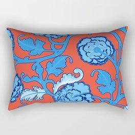 Peonies Oriental Ceramic on Salmon Pink Rectangular Pillow