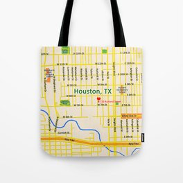 Map of Houston TX #1 Tote Bag