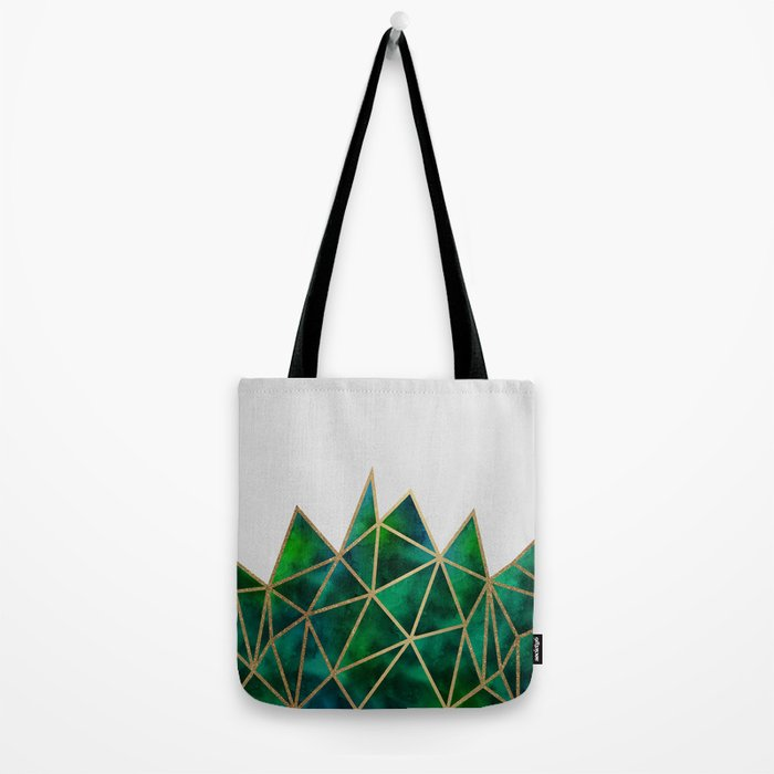 Emerald & Gold Geometric Tote Bag