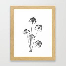 black and white flower wallpaper, flower decor, printable art Framed Art Print