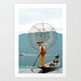 The Fisherman of Inle Lake   Rowing fisherman   Myanmar Travel photography Art Print