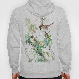 Sparrows And Apple Blossom, bird art Sage, teal green Vintage style floral bird art Hoody