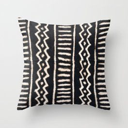 African Vintage Mali Mud Cloth Print Throw Pillow