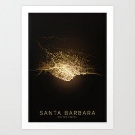 santa barbara California city night light map Art Print