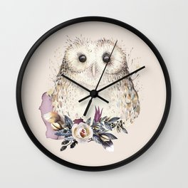 Boho Illustration- Be Wise Little Owl Wall Clock