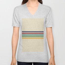 Minimal Abstract Retro Stripes 70s Style - Chichi Unisex V-Neck