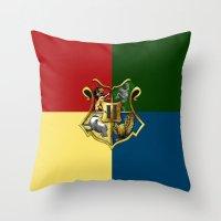 hogwarts Throw Pillows featuring HOGWARTS - HOGWARTS by alexa