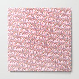 Albany, New York Trendy Rainbow Text Pattern (Pink) Metal Print