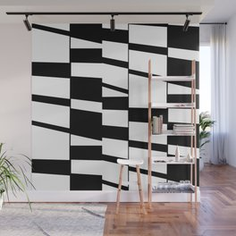 Slanting Rectangles - Black and White Graphic Art by Menega Sabidussi Wall Mural
