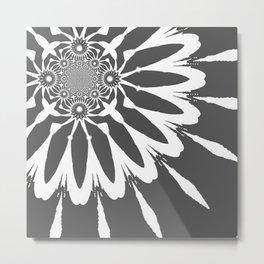 The Modern Flower Dark Gray Metal Print