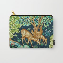 William Morris Deer by a Brook Tapestry Indigo Carry-All Pouch