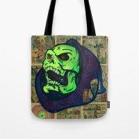 skeletor Tote Bags featuring Skeletor by Beery Method