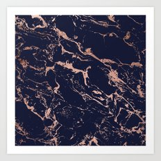 Modern chic navy blue rose gold marble pattern Art Print
