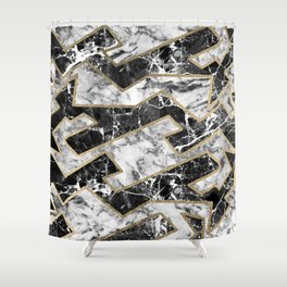 Abstract Modern Faux Gold Black White Marble Shower Curtain