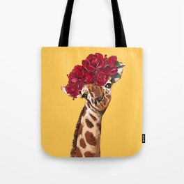 Giraffe with Rose Flower Crown in Yellow Tote Bag