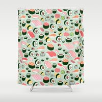watch Shower Curtains featuring Sushi Love by Kristin Nohe Juchs