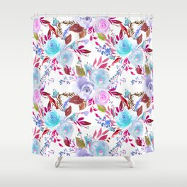 Modern pink lavender white watercolor floral Shower Curtain