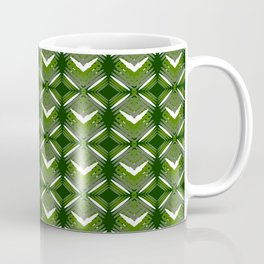 Grassy rhombuses of white stars with hearts in a bright intersection. Coffee Mug