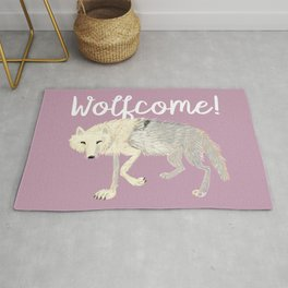 Arctic Wolf  lilac totem Rug