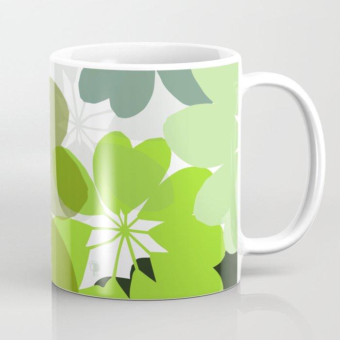 Leaves Flowers Shapes Silhouettes Wb Coffee Mug