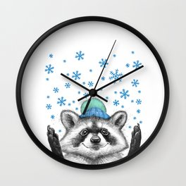 winter raccoon Wall Clock