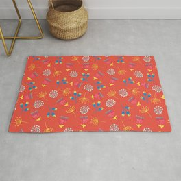 Fall Florals On Red Background Rug