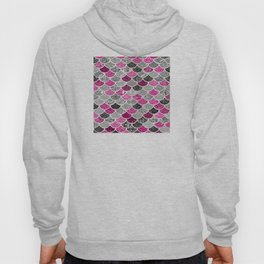 Pink, Silver and Cranberry Mermaid Scales Pattern Hoody