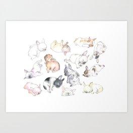 Sleepy French Bulldog Puppies Art Print