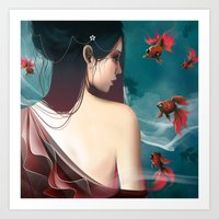 geisha Art Prints featuring Geisha by Nicolas Jamonneau