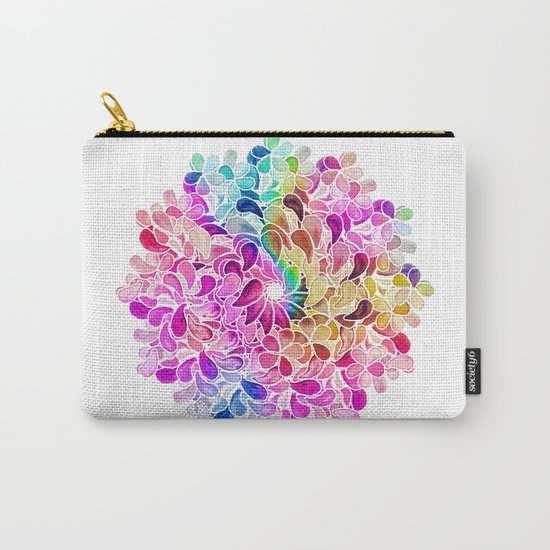 Rainbow Watercolor Paisley Floral Carry-All Pouch