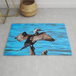 Cormorant Wings on Blue Water Rug