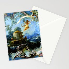 """François Boucher """"The Enchanted Home A Pastoral Landscape surmounted by Cupid"""" Stationery Cards"""
