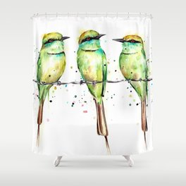 Green Bee-Eaters Shower Curtain